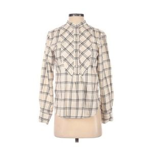 [GAP] Flannel Plaid Collarless Popover Blouse
